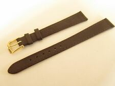 BROWN CALF GRAIN LEATHER 14MM WATCH STRAP BAND GOLD BUCKLE