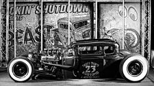 HOT Rod Car Vintage Frabic Art 24x32 inch Poster Black and White 002
