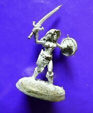 1x female warrior with sword & shiel ral partha 10-310 silver & steel barbarian