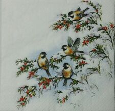 WINTER BIRDS  2 single paper napkins for decoupage LUNCH SIZE  3-ply