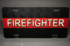 THIN RED LINE FIREFIGHTER METAL NOVELTY LICENSE PLATE TAG FOR CARS