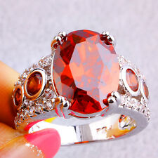Women's Fashion Oval & Round Cut Garnet White Topaz Gemstone Silver Ring Size 8