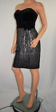 New NWT ADRIANNA PAPELL Boutique Black Pewter Strapless Cocktail Dress  Size 8