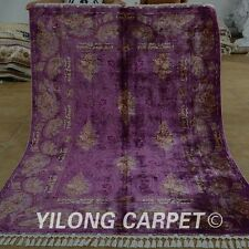 Yilong 5.5'x8' Handknotted Persian Silk Rugs Qom High End Oriental Carpet 1554