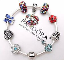 Authentic Pandora Silver Bangle Charm Bracelet With Wife Love European Charms.