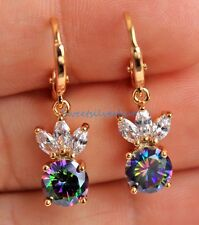 18K Yellow Gold Filled Flower Round MYSTICAL Topaz Party Hoop Dangle Earrings