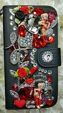 For iPhone 6S Plus Betty Boop Custom Wallet Case Crystals ♡L❤VE♡Leaves♡