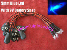 10pcs, 5mm Blue 9V DC Pre-Wired Water Clear LED Leds with 9V Battery Snap