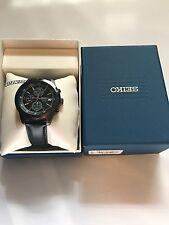 Seiko Chronograph Sport SKS439 Watch 43mm 5 100M Quartz SKX Leather Dive $280 JP
