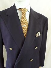 POLO RALPH LAUREN navy blue flannel double breasted blazer coat jacket 42R