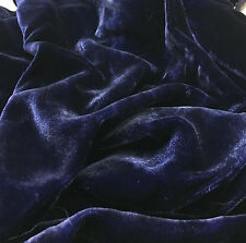 "Hand Dyed Silk VELVET Fabric MIDNIGHT BLUE fat 1/4 18""x22"" remnant"