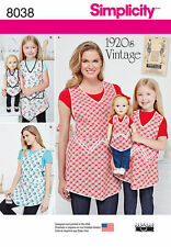 "Simplicity 8038 Retro 1920's Aprons for Misses, Child & 18"" Doll Pattern"
