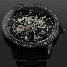 ESS Men Black Case Skeleton Semi Automatic Black Dail Watch - Imported