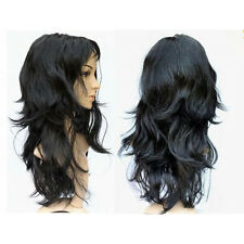 Women's Long Curly Fancy Dress Wigs Black Cosplay Costume Ladies Wig Party CP