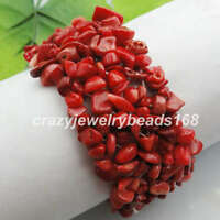"""Red Sea Coral Gemstone Chips Beaded Beads Weave Stretchy Bracelet 7 """" H056"""