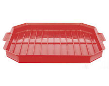 Microwave Bacon Rack Tray Plate Crisper Cooker Kitchen Gadget Tool Utensil Red