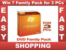 Sealed Brand New Windows 7 Home Premium Upgrade Family Pack 3 PCs 32/64 bit