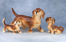 Vintage Miniature Set of 3 Bone China Dachshund Dog Figurines Made In Japan