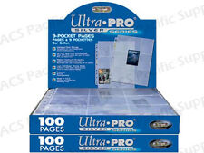 200 ULTRA PRO 9 POCKET ALBUM PAGES Binder Coupon Sports Gaming New Lot