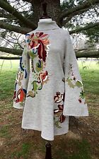 NWT Anthropologie taupy gray Embroidered Embellish Floral Swing Sweater Dress S