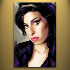 "AMY WINEHOUSE Original Rare New Signed Print CANVAS POP ART PAINTING 26"" x 16"""