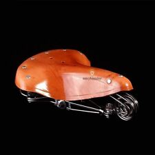 Vintage Classic Style Bicycle Bike Cycle Genuine Leather Saddle Seat With Spring