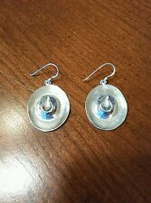 Vintage 925 Sterling Silver Jewelry  Cowboy Hat Hook Earrings Signed CW (5.8g)