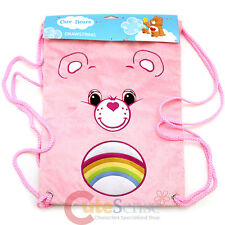 Care Bears Cheer Bear Pink Plush Draw String Backpack Sling Shoulder Bag