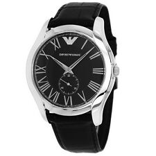 Emporio Armani AR1703 Classic Black Leather 43mm Dial Dress Watch - New in Box