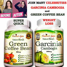 COMBO GARCINIA CAMBOGIA + GREEN COFFEE BEAN FAST WEIGHT LOSS 100% PURE ORGANIC