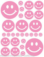 56 SOFT PINK SMILEY FACE SHAPED VINYL DECAL STICKER TEEN BABY NURSERY BEDROOM