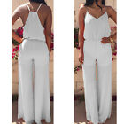 2015 WOMEN CELEB V NECK ELEGENT CHIFFON PLAYSUIT JUMPSUIT ROMPER WIDE LEG PANTS