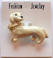 Puppy Dog Marbelized And Rhinestone Bling Brooch Hat Lapel Pin Broach B3269