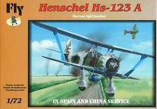 HENSCHEL Hs-123 A ATTACK AIRCRAFT (SPANISH AND CHINESE AF MARKINGS) 1/72 FLY