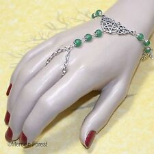 Pentacle and Triquetra Aventurine Bracelet Ring - Pagan Jewellery, Wicca, Witch