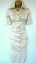 KAREN MILLEN BEIGE CREME MILITARY SHIRT DRESS Size UK 10 EU 36 safarI