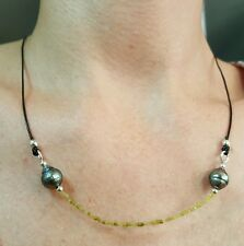 Yellow canary faceted square Diamond black leather Tahitian pearl necklace