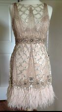 SUE WONG 1920's Champagne Beaded Sequin Feather Evening Bridal Wedding Dress 8