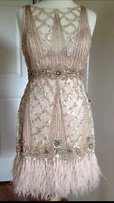 SUE WONG 1920's Champagne Beaded Sequin Feather Evening Bridal Wedding Dress 10