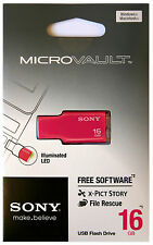 SONY USM16GM 16GB PINK USB 2.0 Micro Vault Tiny USB Flash Drive Thumb KEY 16G