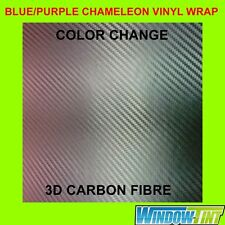 150cm x 30cm Purple-Blue Colour Change Chameleon Carbon Fibre Car Wrap Vinyl