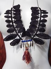 ARTSY BLACK GEOMETRIC LACE YOKE NECKLACE rust tassel blue beads bib deco art H3