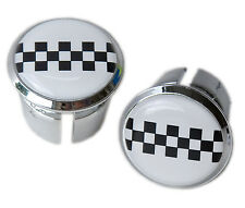 Peugeot Chequerboard Bicycle Handlebar Chrome Plastic Bar End Plugs Caps Eroica