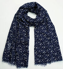 NEW FAT FACE DARK NAVY BLUE BIRD PRINT SCARF