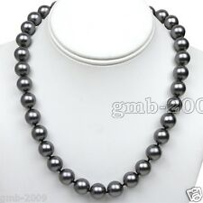 """10mm Genuine Real Round Dark Gray South Sea Shell Pearl Knoted Necklace 18""""AAA"""
