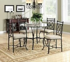 Table Chair Dining Room 5 Piece Set Round Glass Top Kitchen Upholstered Seat