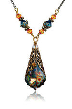 Vintage Peacock Swarovski Elements Filigree Crystal Pendant Necklace