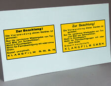 2 WATER SLIDE DECALS KLANGFILM TO RESTORE: AMPLIFIER 16MM, SPEAKER, PROJECTOR