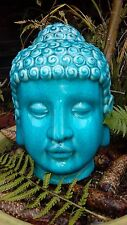 Large Thai Buddha Head Statue Turquoise - Blue Crackle Glazed Ornament 26cms