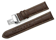 14-24 mm Calf Leather Strap Alligator Grain Watch Band Butterfly Deployant Clasp